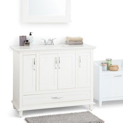 42 inch | Ariana 42 inch Bath Vanity in Soft White with Bombay White Engineered Quartz Marble Top