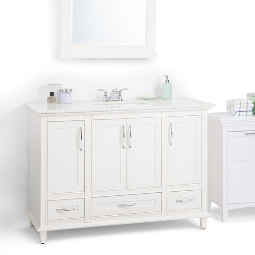 48 inch | Ariana 48 inch Bath Vanity in Soft White with Engineered Quartz Marble Engineered Quartz Marble Top