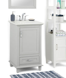 Warm Grey | Ariana 20 inch Bath Vanity with Bombay White Engineered Quartz Marble Top