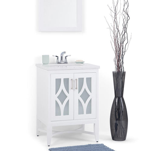 White | Bristol 24 inch Bath Vanity with Carrara White Engineered Marble Top