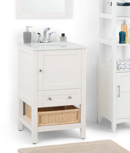 Cape Cod 20 inch Bath Vanity in Soft White with White Engineered Quartz Marble Top