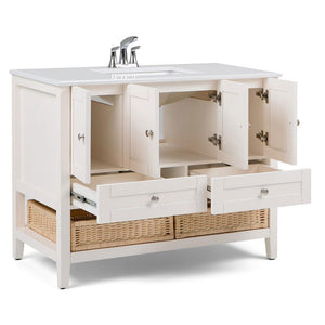 Cape Cod 42 inch Bath Vanity in Soft White with White Engineered Quartz Marble Top
