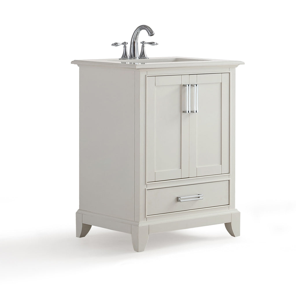 Elise 24 inch Bath Vanity in Soft White with Bombay White Engineered Quartz Marble Top