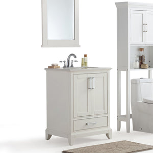24 inch | Elise 24 inch Bath Vanity in Soft White with Bombay White Engineered Quartz Marble Top