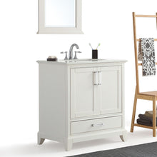 Load image into Gallery viewer, 30 inch | Elise 30 inch Bath Vanity in Soft White with Bombay White Engineered Quartz Marble Top