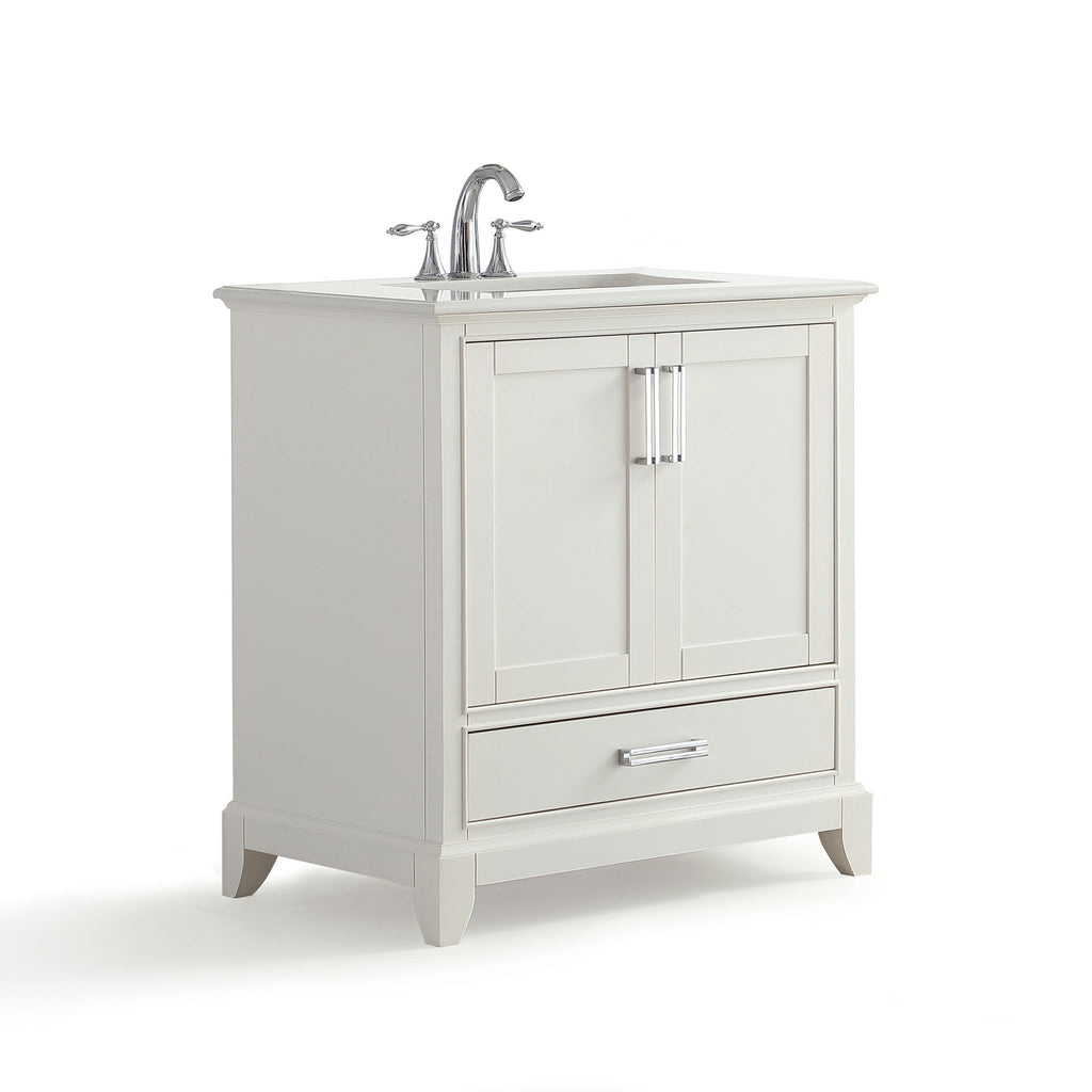 Elise 30 inch Bath Vanity in Soft White with Bombay White Engineered Quartz Marble Top