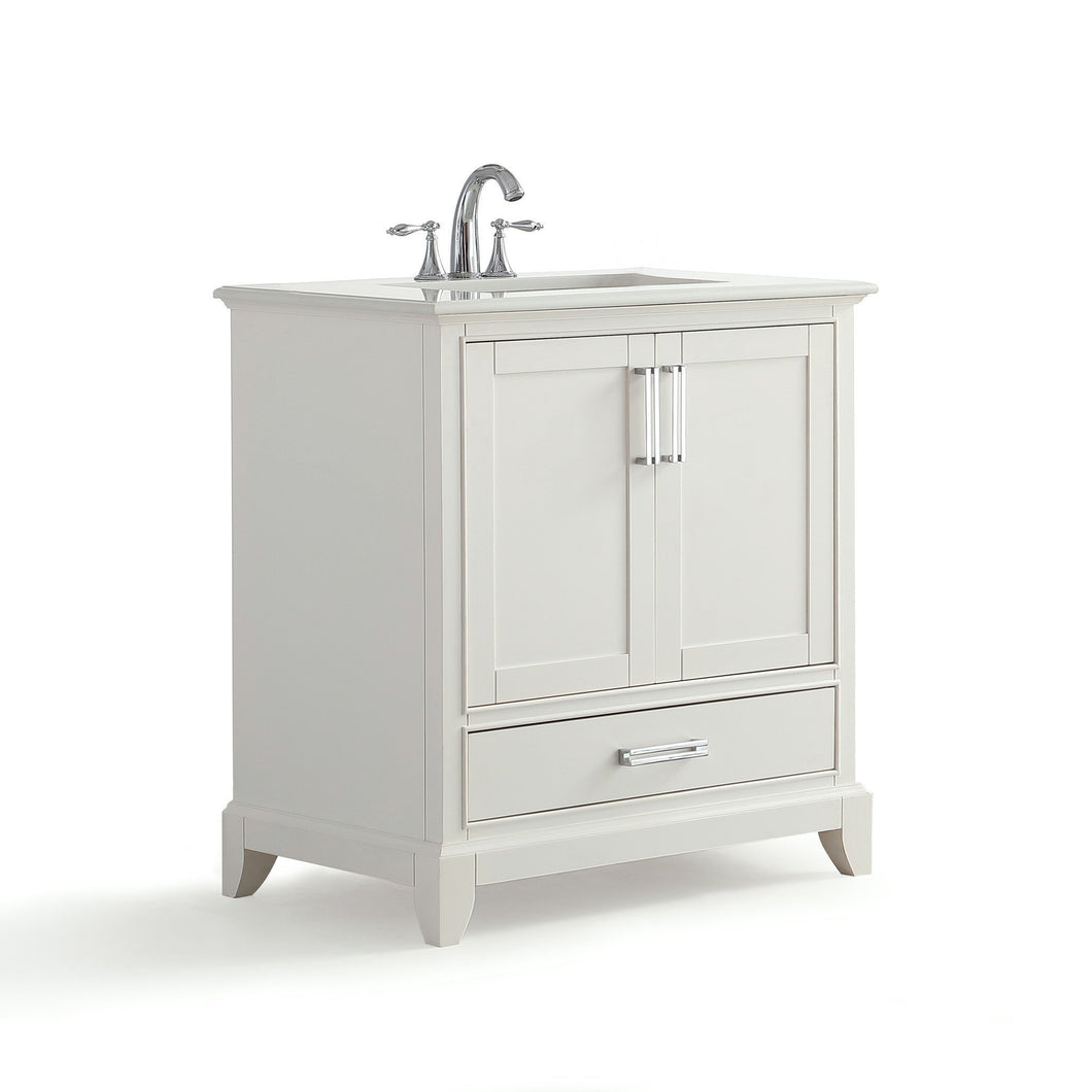 30 inch | Elise 30 inch Bath Vanity in Soft White with Bombay White Engineered Quartz Marble Top