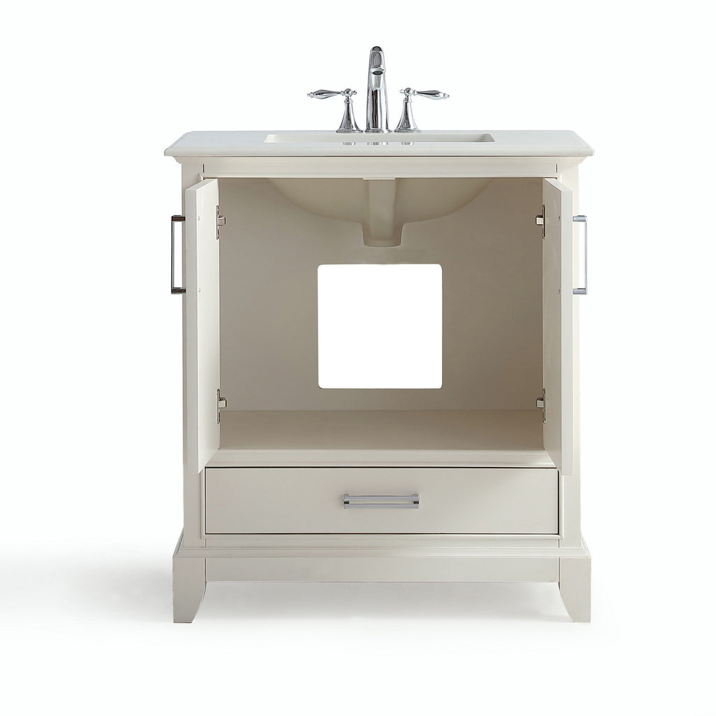 Elise 30 Inch Bath Vanity In Soft White With Bombay White