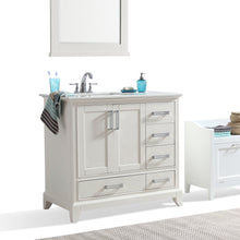 Load image into Gallery viewer, Left Offset | Elise 36 inch Bath Vanity in Soft White with Bombay White Engineered Quartz Marble Top