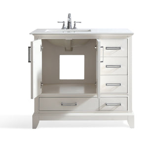 Left Offset | Elise 36 inch Bath Vanity in Soft White with Bombay White Engineered Quartz Marble Top