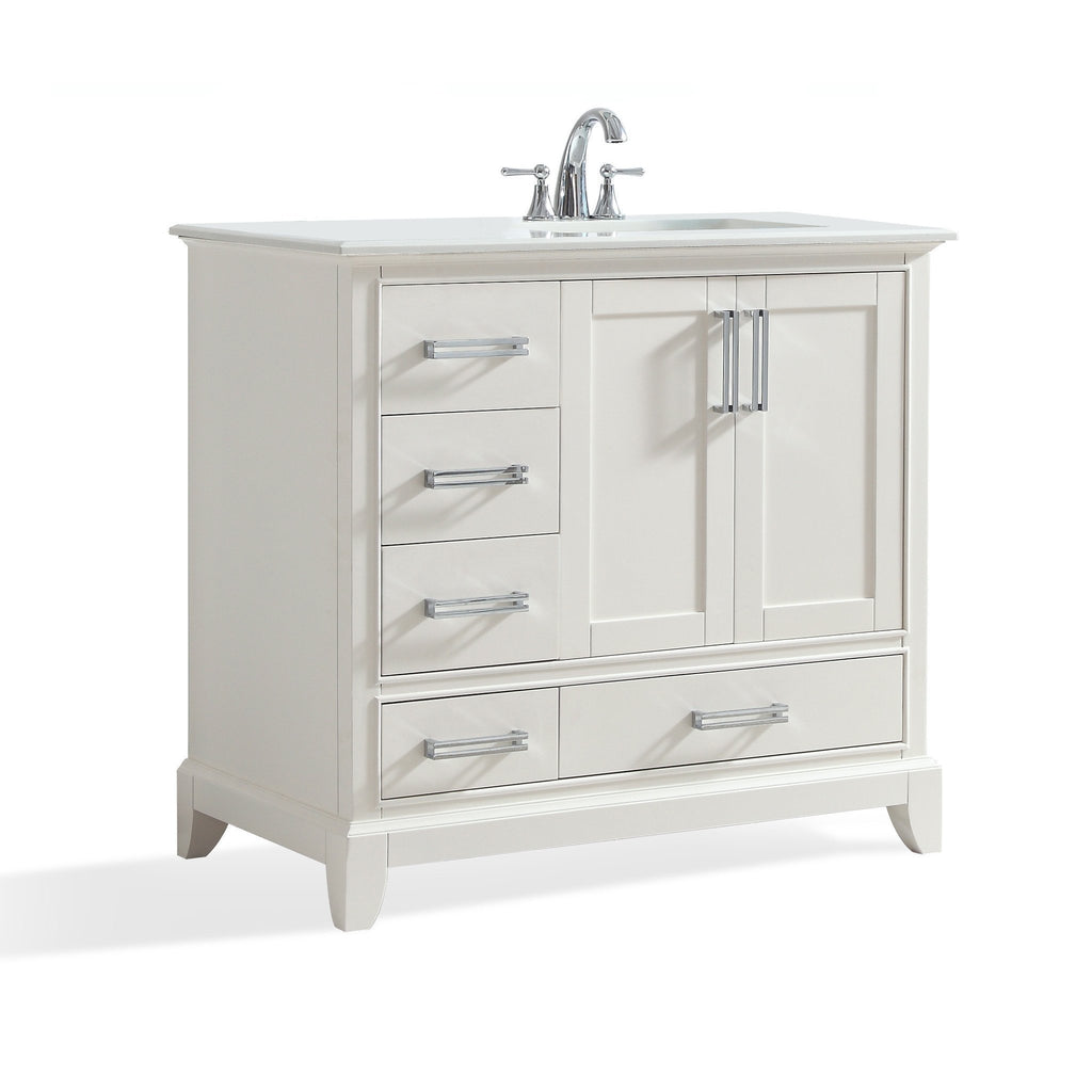 Elise 36 inch Bath Vanity in Soft White with Bombay White Engineered Quartz Marble Top