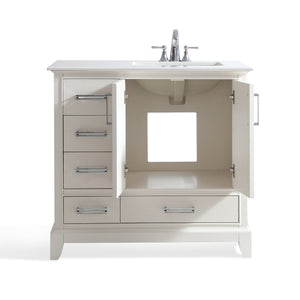 Right Offset | Elise 36 inch Bath Vanity in Soft White with Bombay White Engineered Quartz Marble Top