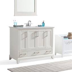 42 inch | Elise 42 inch Bath Vanity in Soft White with Bombay White Engineered Quartz Marble Top