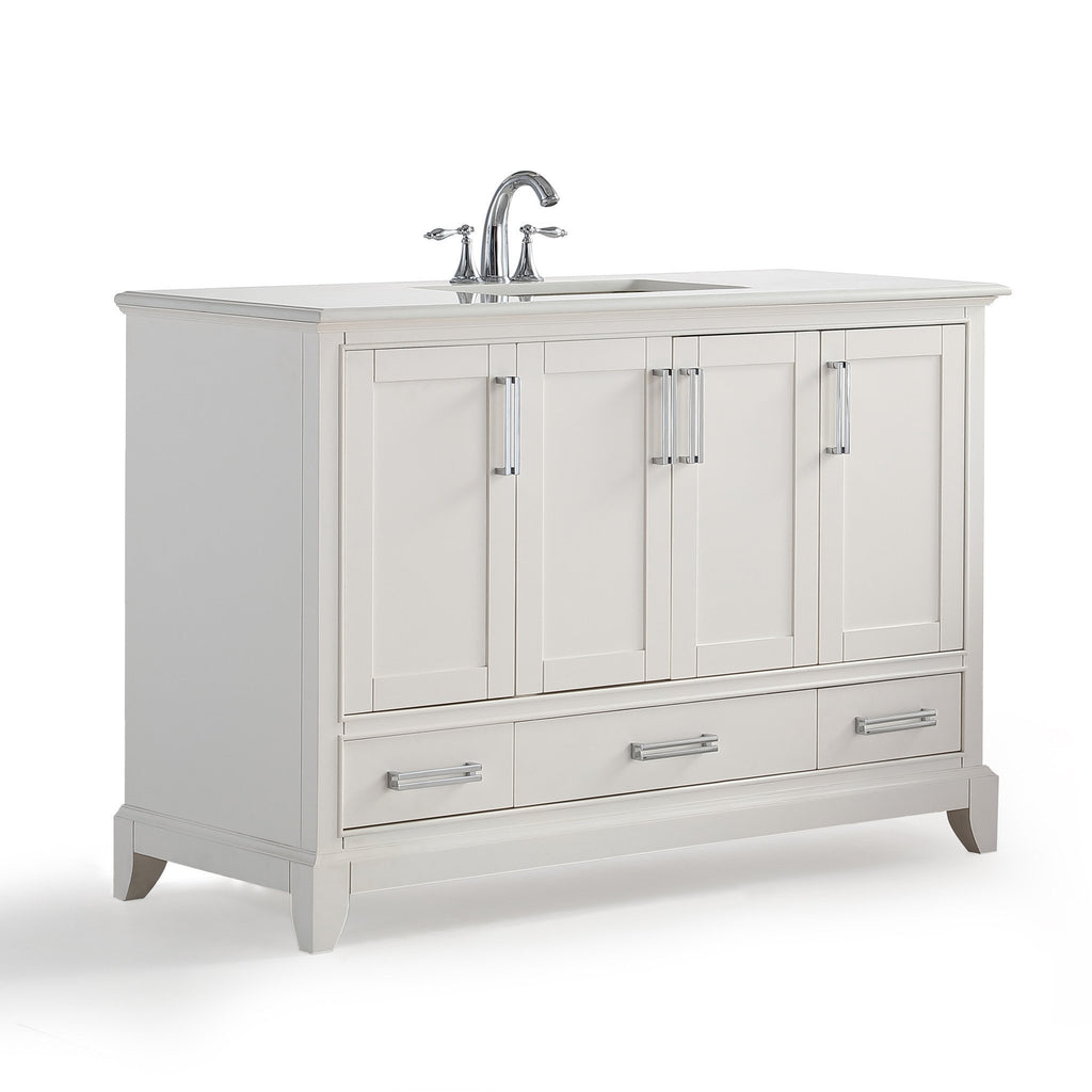 Elise 48 inch Bath Vanity in Soft White with Bombay White Engineered Quartz Marble Top