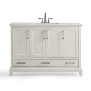 48 inch | Elise 48 inch Bath Vanity in Soft White with Bombay White Engineered Quartz Marble Top