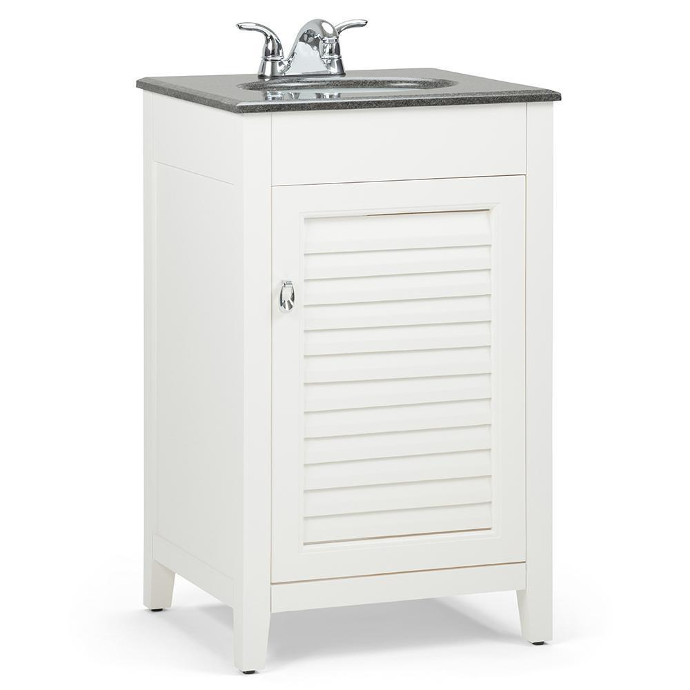Adele 20 inch Bath Vanity in Soft White with Black Granite Top