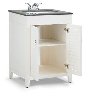 24 inch | Adele 24 inch Bath Vanity in Soft White with Black Granite Top