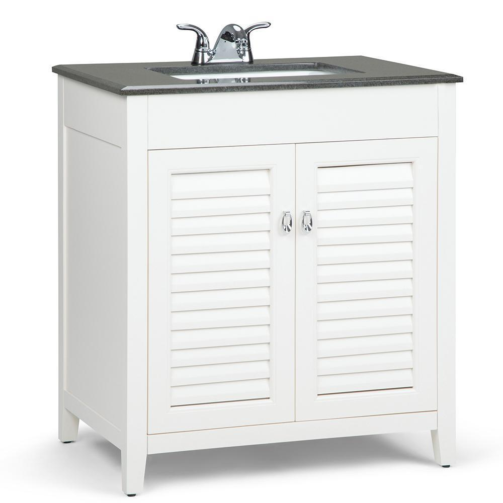 30 inch | Adele 30 inch Bath Vanity in Soft White with Black Granite Top