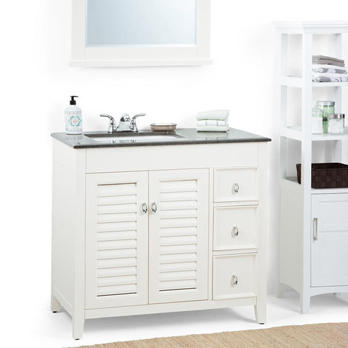 Left Offset | Adele 36 inch Bath Vanity in Soft White with Black Granite Top