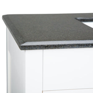 Adele 36 inch Bath Vanity in Soft White with Black Granite Top