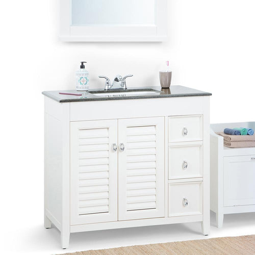 Center | Adele 36 inch Bath Vanity in Soft White with Black Granite Top