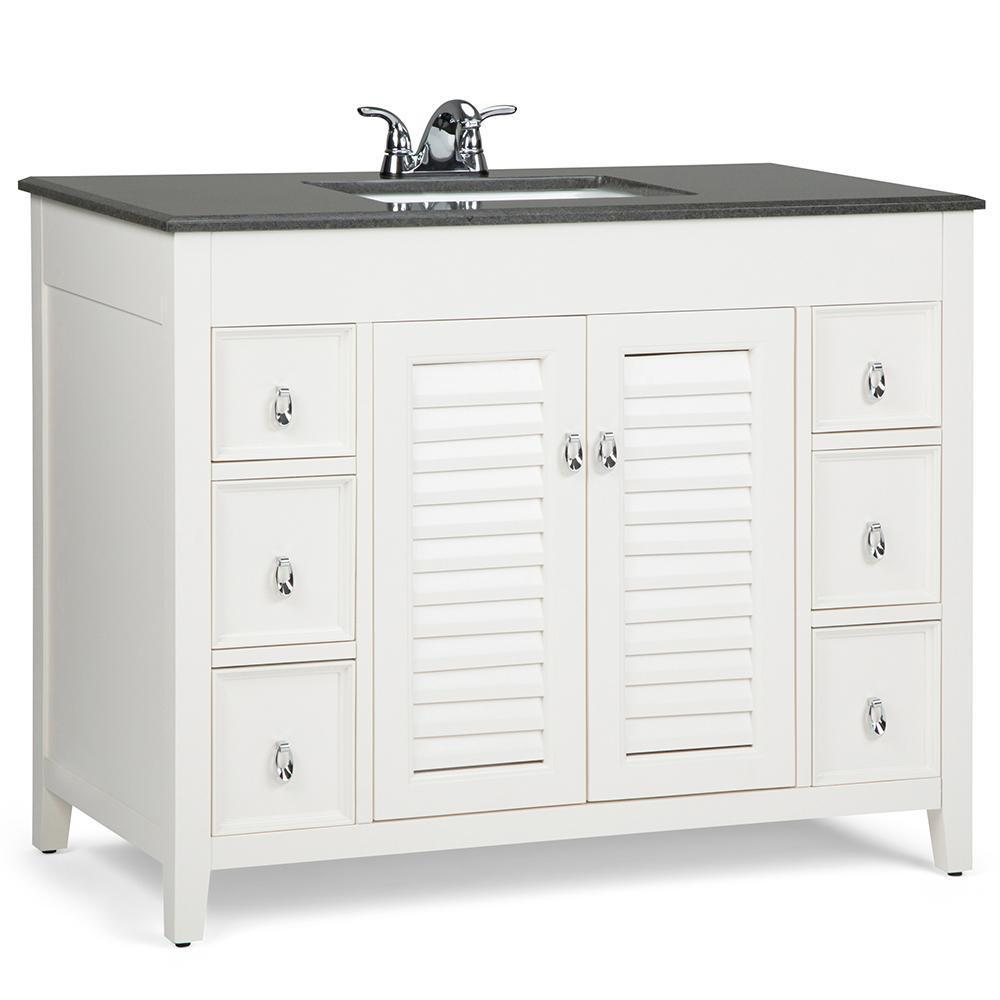 Adele 42 inch Bath Vanity in Soft White with Black Granite Top