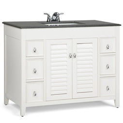 42 inch |Adele 42 inch Bath Vanity in Soft White with Black Granite Top