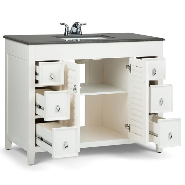 Adele 42 Inch Bath Vanity In Soft White With Black Granite