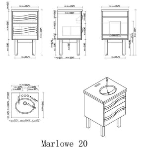Marlowe 20 inch Bath Vanity with White Engineered Marble Top