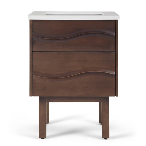 Brown | Marlowe 24 inch Bath Vanity with White Engineered Marble Top