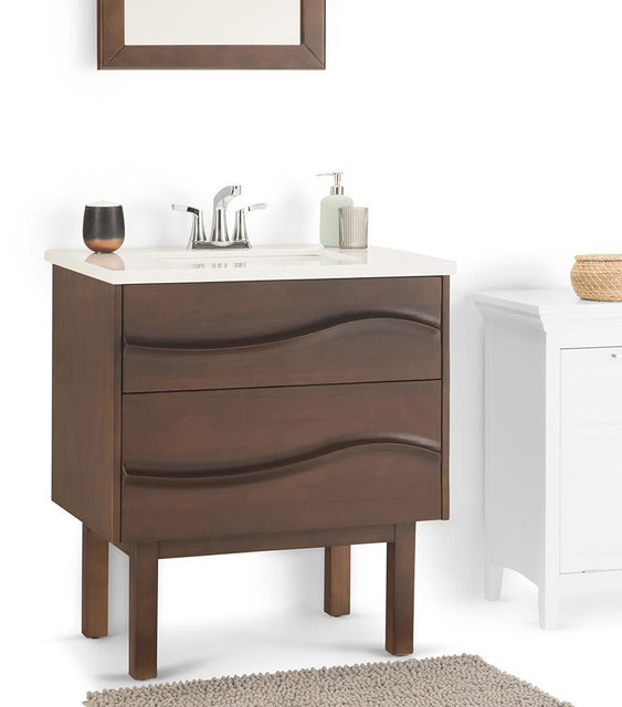 Load image into Gallery viewer, Brown | Marlowe 30 inch Bath Vanity with White Engineered Marble Top