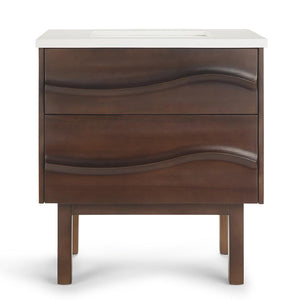 Brown | Marlowe 30 inch Bath Vanity with White Engineered Marble Top
