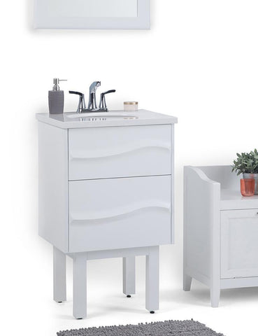 White | Marlowe 20 inch Bath Vanity with White Engineered Marble Top