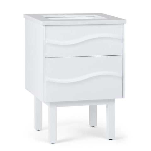 White | Marlowe 24 inch Bath Vanity with White Engineered Marble Top