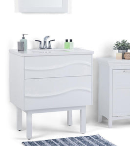 White | Marlowe 30 inch Bath Vanity with White Engineered Marble Top