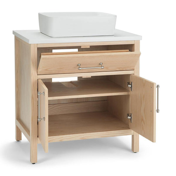 Patton 30 Inch Bath Vanity In Natural With White