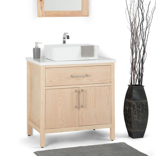 Natural | Patton 30 inch Bath Vanity with White Engineered Marble Top