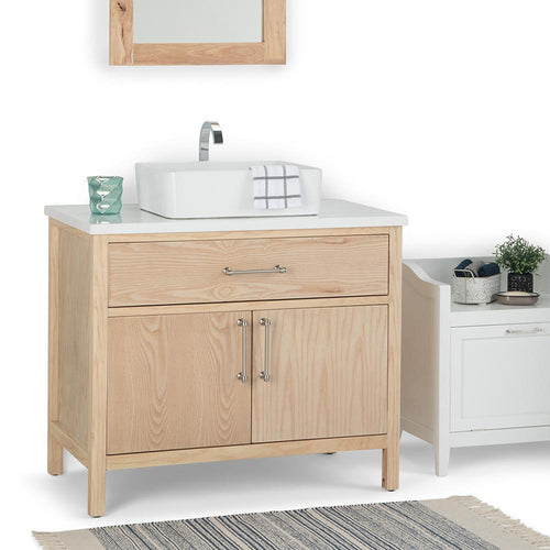 Natural | Patton 36 inch Bath Vanity with White Engineered Marble Top
