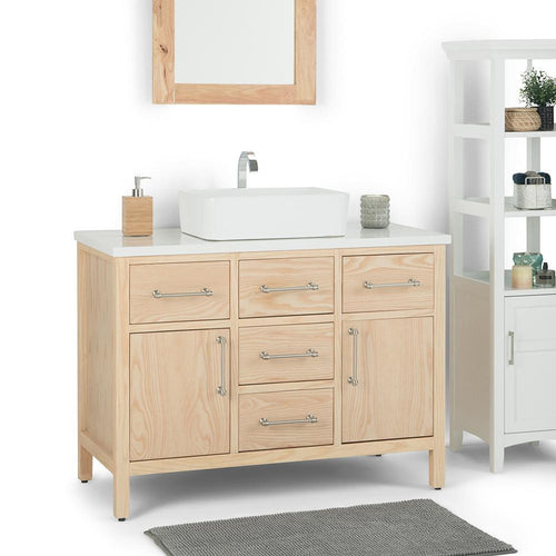 Natural | Patton 42 inch Bath Vanity with White Engineered Marble Top