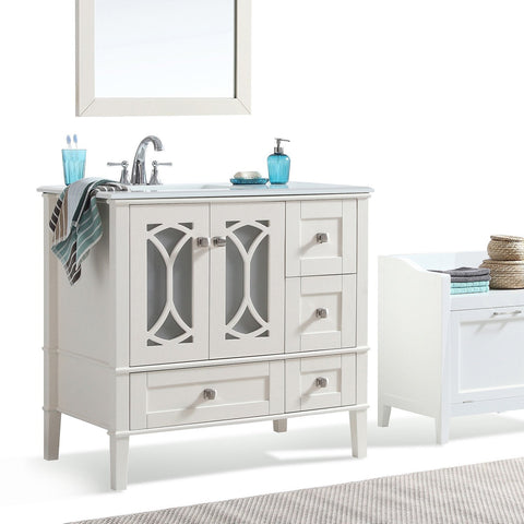 Left Offset | Paige Soft White Bath Vanity