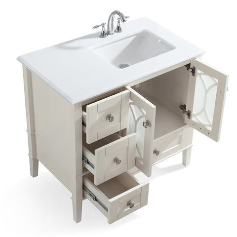 Right Offset | Paige Soft White Bath Vanity