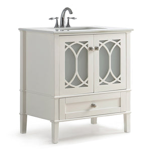 Paige 36 inch Bath Vanity in Soft White with White Engineered Quartz Marble Top