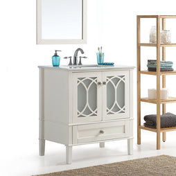 Center Off White | Paige 36 inch Bath Vanity in Soft White with White Engineered Quartz Marble Top
