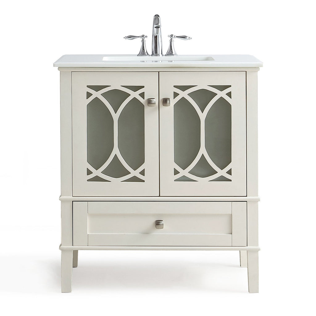 Paige 36 Inch Bath Vanity In Soft White With White