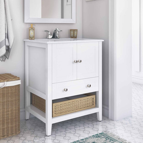 Pure White | Cape Cod 24 inch Bath Vanity with White Engineered Quartz Marble Top