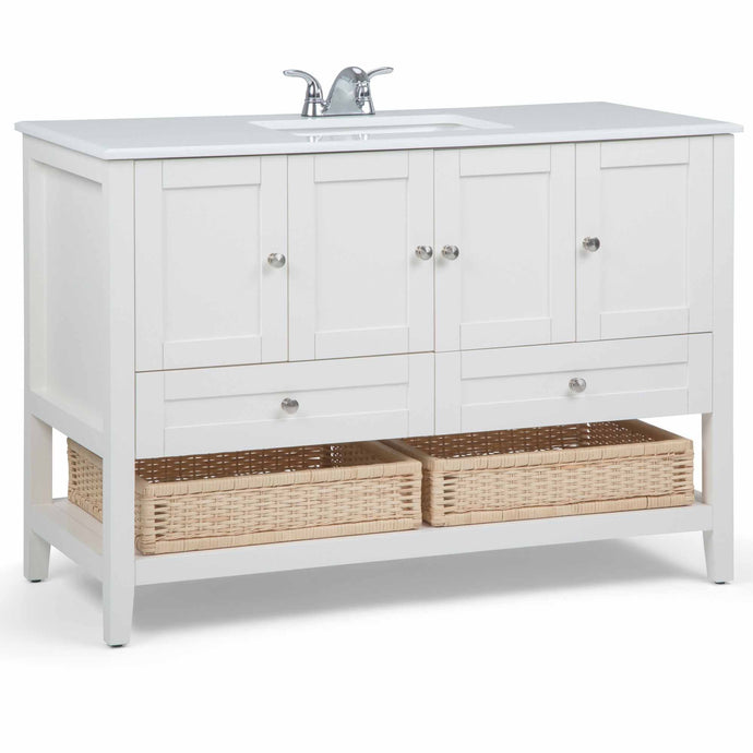Pure White | Cape Cod 48 inch Bath Vanity with White Engineered Quartz Marble Top