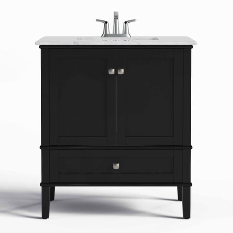 Midnight Black | Chelsea 30 inch Bath Vanity with White Quartz Marble Top