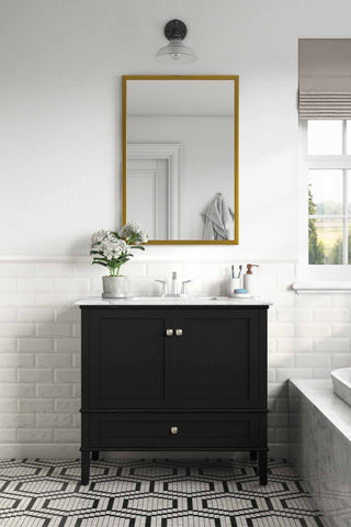 Center Midnight Black | 36 inch Chelsea Bath Vanity with White Quartz Marble Top