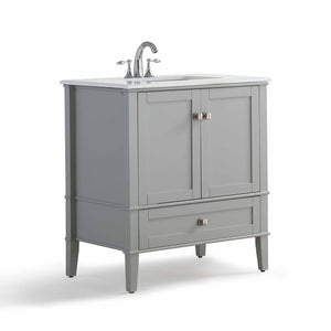 Smoke Grey | Chelsea 30 inch Bath Vanity with White Quartz Marble Top