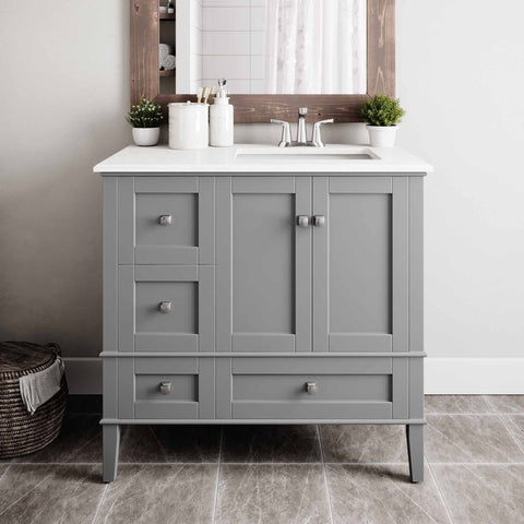 Left Offset Smoke Grey | 36 inch Chelsea Bath Vanity with White Quartz Marble Top